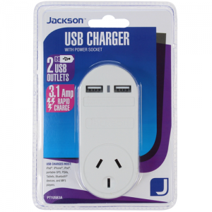 Jackson Mains Power Outlet with 2 x Rapid USB