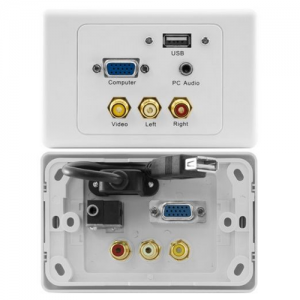USB, VGA, 3.5mm Stereo and 3x RCA Power Point Wall Plate