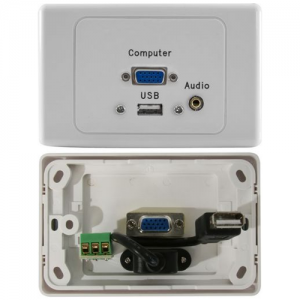 USB, VGA, 3.5mm Stereo Audio Power Point Wall Plate