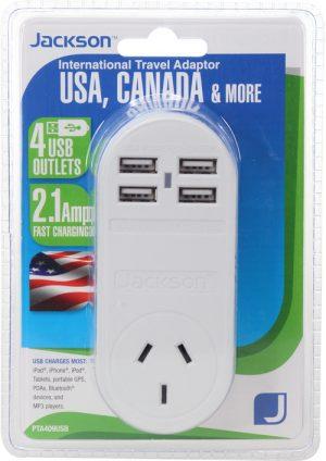 Jackson 4 port USB travel adapter